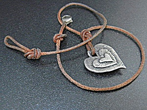 Sterling Silver And Leather Heart Jess Maharry Necklace