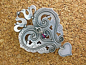Sterling Silver Hearts  Doves Arts  and Crafts Pin (Image1)