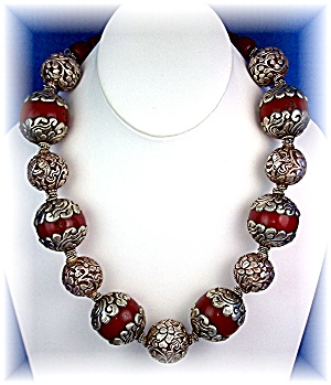 Necklace Sterling Silver & Red Resin Flower Scroll Bead (Image1)