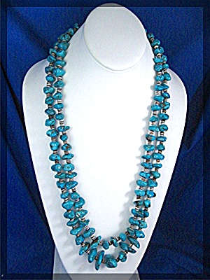 Turquoise Heishi Necklace Santo Domingo 2 Strand