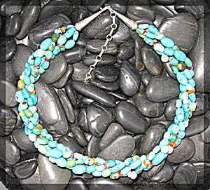 Native American Turquoise Coral Sterling Silver 4 Stran