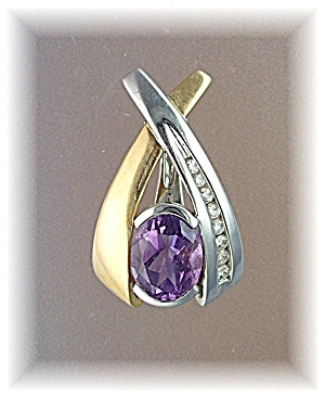 Pendant Enhancer 14K Yellow White Gold Amethyst Diamond (Image1)