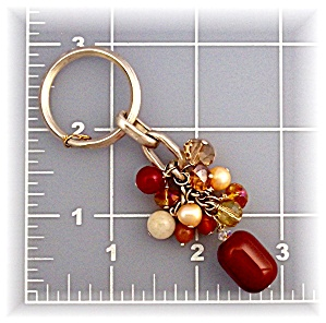 Key Ring Carnelian Freshwater Pearls Citrine Crystals