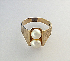 Ring Cultured Pearls European Gold Germany
