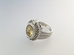 Ring Sterling Silver Citrine and CZ Judith Ripka (Image1)