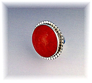 Ring Sponge Coral Sterling Silver Free Size