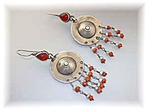 Earrings Silver Carnelian Seed Pearls Afghanistan