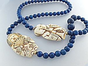 Necklace Lapis Pre Ban Ivory Figures Gold Beads