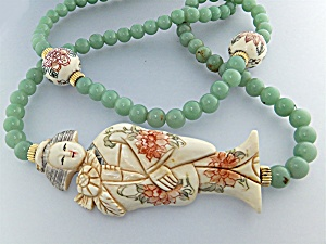 Necklace Pre Ban Ivory Lady W Beads Adventurine Beads