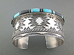 Native American R.WYLIE Sterling Silver Turquoise Cuff (Image1)