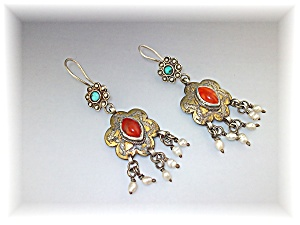 Earrings Silver Seed Pearl Turquoise Carnelian Afghanis