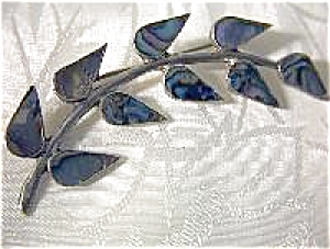 Mexican Silver And Abalone Leaf Pin
