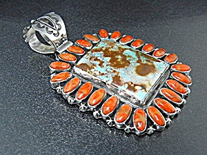 Native American Apple Coral Turquoise Pendant Nez
