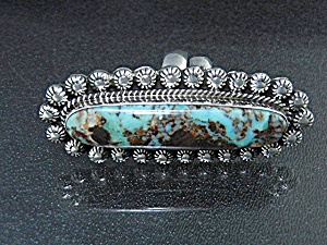 Native American Dry Creek Turquoise Sterling Silver Ri