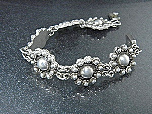 Taxco Mexico Sterling Silver Flower  Bracelet  (Image1)