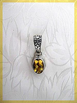 Sterling Silver Citrine Oblong Pendant (Image1)