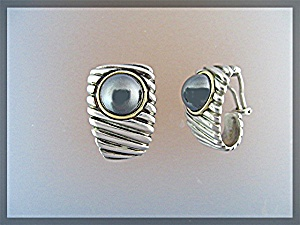 Earrings 18K Gold Sterling Silver Hematite Clip  (Image1)