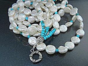 Native American Sterling Silver Turquoise Coin Pearls