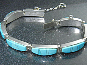 Native American Sterling Silver Turquoise Bracelet Calv
