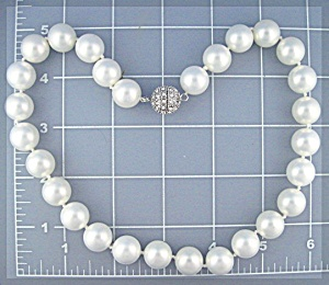 Mother Of Pearl 13mm Pearl Necklace Crystal Clasp