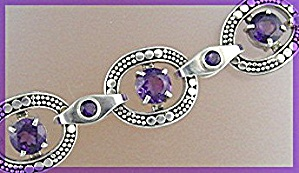 Sterling Silver Amethyst toggle Clasp Bracelet By Peggy (Image1)