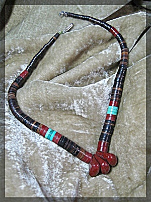 American Indian Turquoise Tan Stone Necklace (Image1)