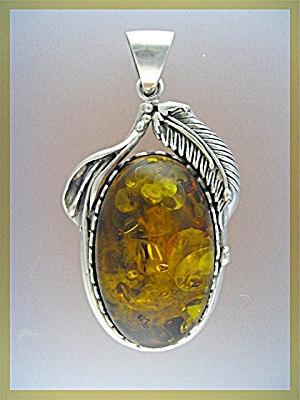 Pendant Sterling Silver Golden Amber  3 1/4 inches (Image1)
