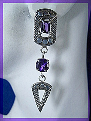 Sterling Silver Amethyst Dangle Post Earrings BY Peggy (Image1)