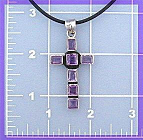 Sterling Silver Amethyst Cross Pendant (Image1)