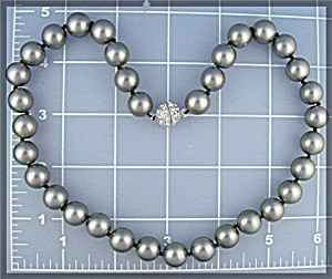 Grey Shell 11mm Pearl Necklace Crystal Clasp (Image1)