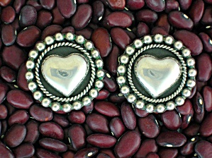 Taxco Mexico Sterling Silver Tb-171 Heart Clip Earrings