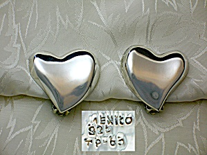 Taxco Mexico Tp-63 Sterling Silver Heart Clip Earrings