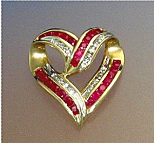 14K Gold Diamond and 25 Ruby Heart Slide Pendant  (Image1)