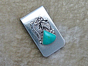 Silver And Turquoise American Indian Money Clip