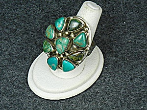 Native American Sterling Silver Turquoise Livingstone R