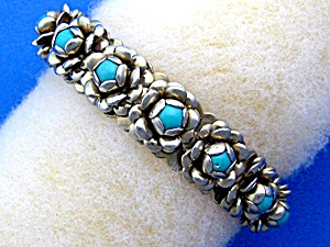 Silver and Turquoise Roses Cuff bracelet (Image1)