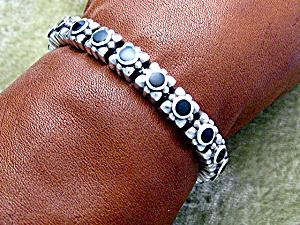 Sterling Silver Black Onyx bracelet Push Clasp (Image1)