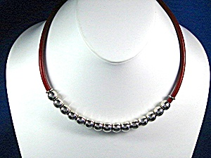 Taxco Mexico Sterling Silver Beads Red Leather Necklace (Image1)
