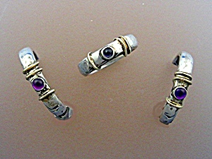 Earrings 14k Gold Sterling Silver Amethyst And Ring