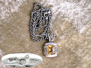 Necklace Sterling Silver 14K Gold Citrine  Marked C (Image1)