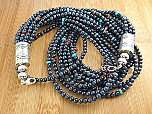 Necklace Lapis Turquoise Spiny Sterling Silver Native A (Image1)