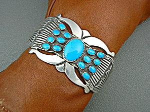 Native American Sterling Turquoise Bracelet R. Martinez (Image1)