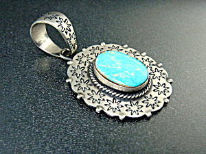 Native American Strling Silver Turquoise Pendant Living