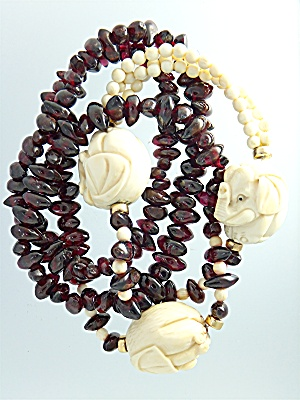 Necklace Pre Ban Ivory Elephant Beads And Garnets