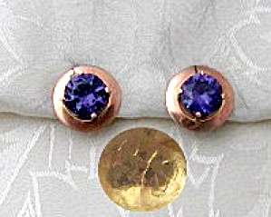 Earrings 10K European Rose  Gold 6ct Amethyst Clip  (Image1)