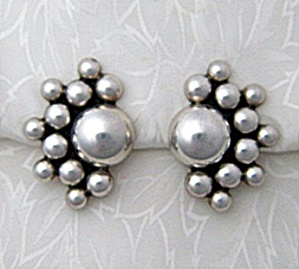Earrings DULCE Sterling Silver Taxco Mexico Clips  (Image1)