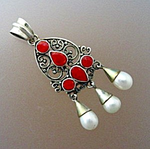 Sterling Silver Freshwater Pearls Coral Enamel Pendant (Image1)