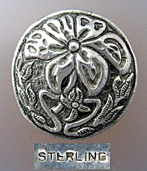 Sterling Silver Antique Flower Brooch (Image1)