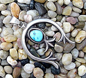 S JACK Sterling Silver Turquoise Native Americn Pendant (Image1)