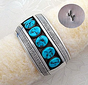 Native American Johnson Yazzie Sterling Silver Cuff